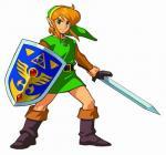 Link, bouclier et épée à la main
