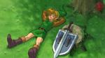 Link se reposant sous un arbre, armes déposées