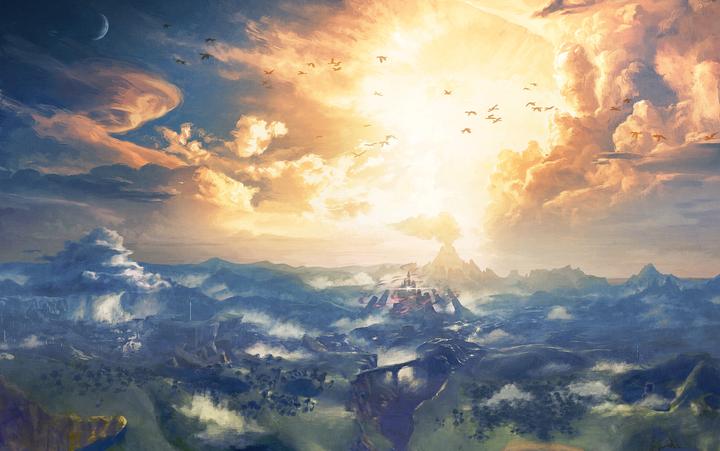 Coucher de soleil sur Hyrule (Artwork - Illustrations - Breath of the Wild)