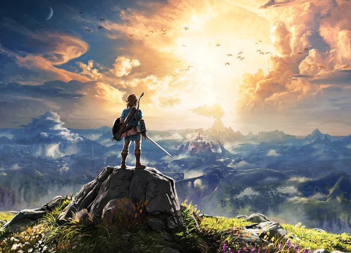 Link face à un coucher de soleil sur Hyrule (Artwork - Illustrations - Breath of the Wild)