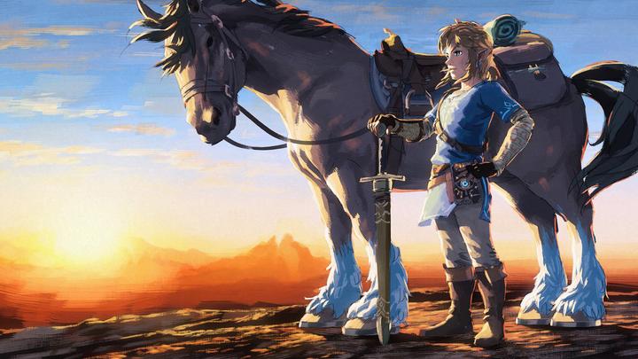 Link et un cheval (Artwork - Illustrations - Breath of the Wild)