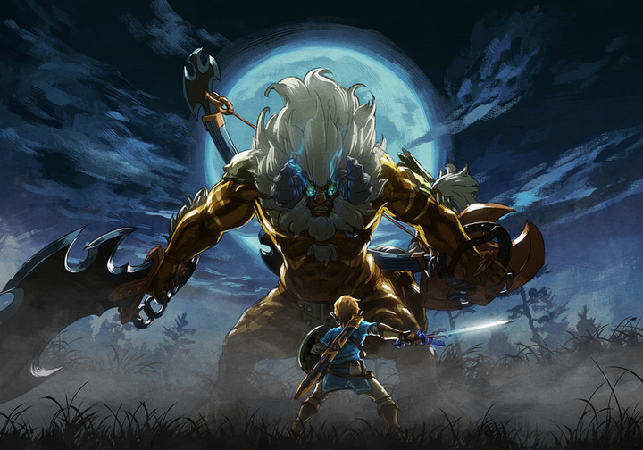 Les Épreuves Légendaires : Link face à un Lynel d'Or (Artwork - Illustrations - Breath of the Wild)