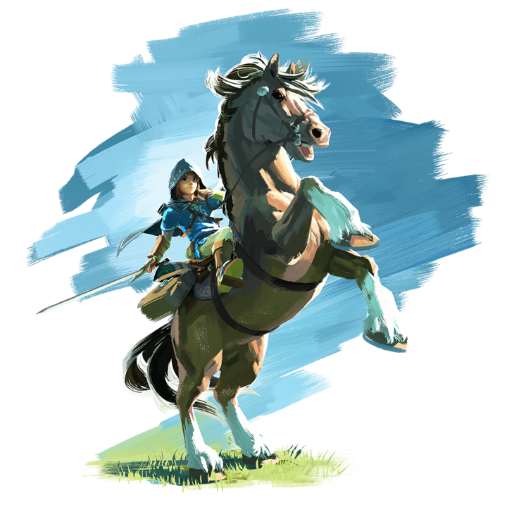 Link à cheval (Artwork - Personnages - Breath of the Wild)