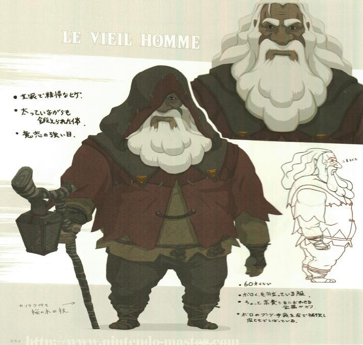 Concept Art du vieil Homme / du roi d'Hyrule (Artwork - Concept Arts - Breath of the Wild)