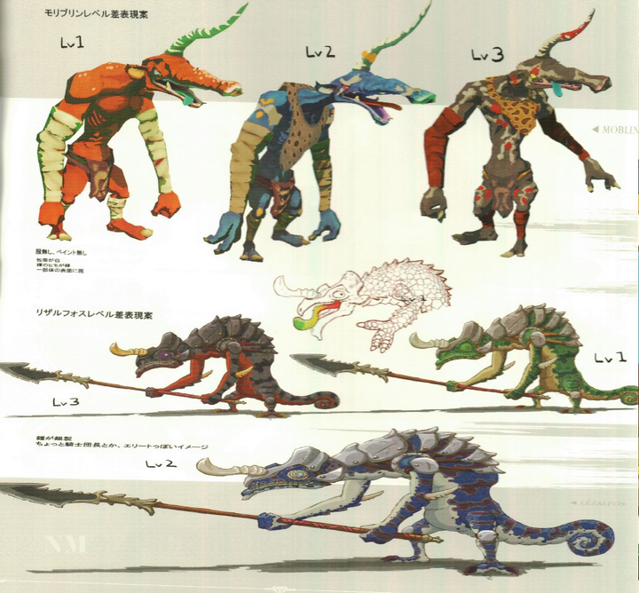 Concept Art de Moblin et de Lizalfos (Artwork - Concept Arts - Breath of the Wild)