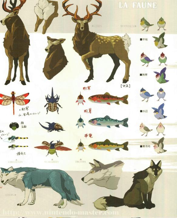 Concept Art de plusieurs animaux (Artwork - Concept Arts - Breath of the Wild)