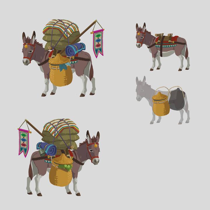 Concept Art d'un âne transportant des marchandises (Artwork - Concept Arts - Breath of the Wild)