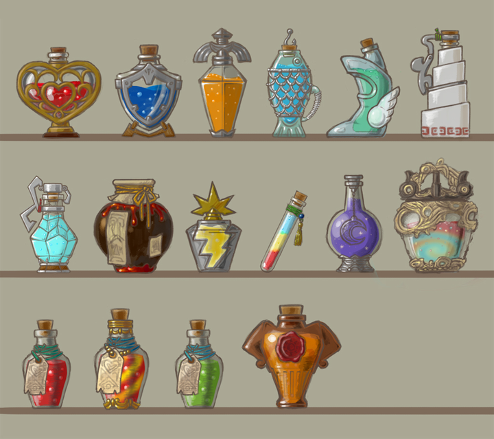 Concept Art de potions (Artwork - Concept Arts - Breath of the Wild)