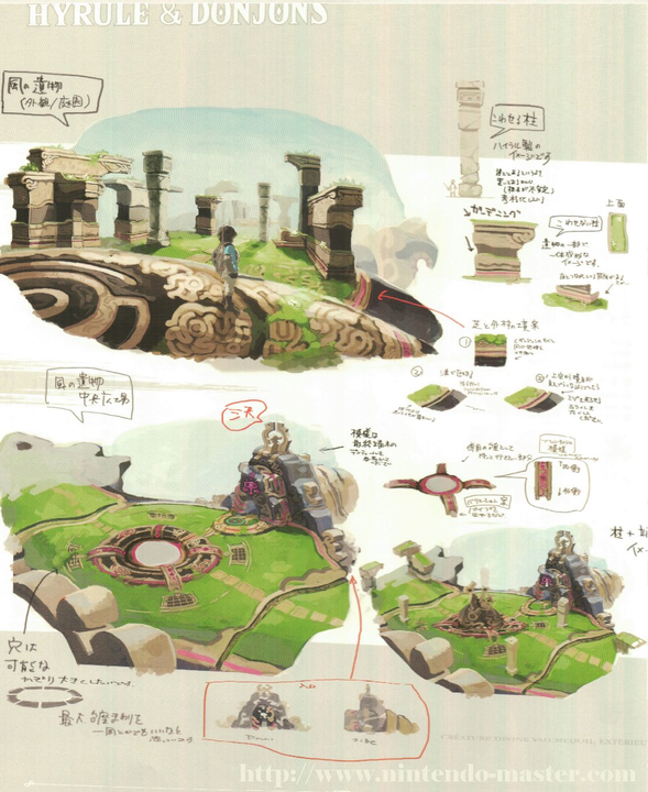 Concept Art de l'entrée d'un sanctuaire (Artwork - Concept Arts - Breath of the Wild)