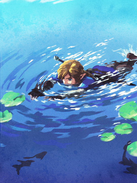 Link nageant (Artwork - Illustrations - Breath of the Wild)