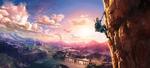 Link escaladant une montagne