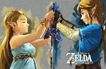 Link et Zelda tenant la Lame Purificatrice