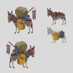 Concept Art d'un âne transportant des marchandises