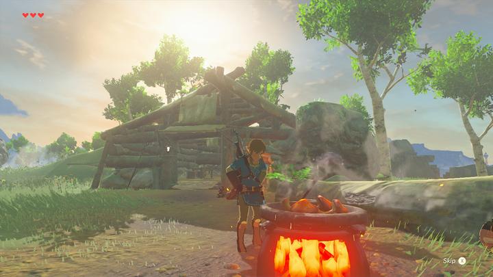 Link cuisinant à côté de la cabane du vieil homme (Screenshot - Screenshots de l'E3 2016- Breath of the Wild)