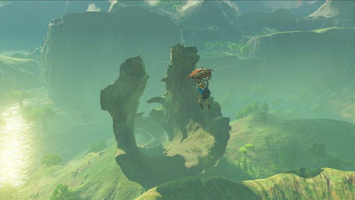 Link s'envolant vers un gigantesque tronc d'arbre (Screenshot - Screenshots publiés sur les réseaux sociaux- Breath of the Wild)