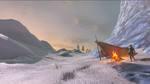Link au coin du feu dans un paysage enneigé