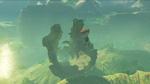 Link s'envolant vers un gigantesque tronc d'arbre