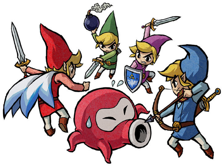 Les quatre Link contre un Octorok (Artwork - Artworks de Link - Four Swords Adventures)