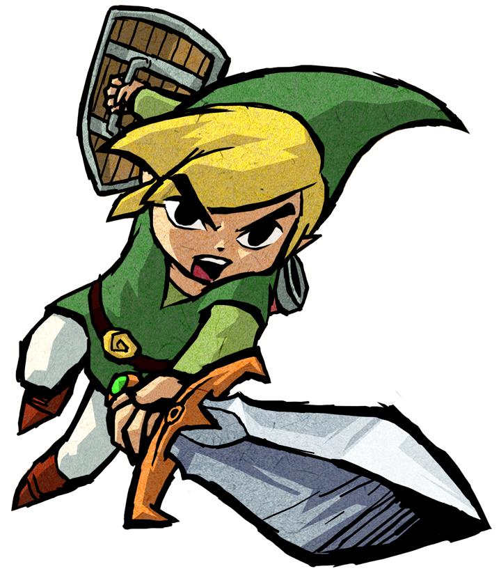 Link vert attaquant à l'épée (Artwork - Artworks de Link - Four Swords Adventures)
