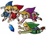 Les quatre Link se battant pour un rubis