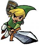 Link vert attaquant à l'épée