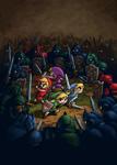 Les quatre Link contre une armée d'ennemis