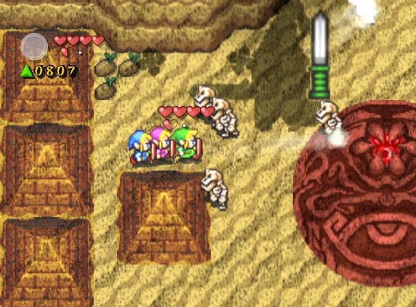 Combat contre un Chevalier Stalfos géant dans le désert du doute (Screenshot - Four Swords Adventures)