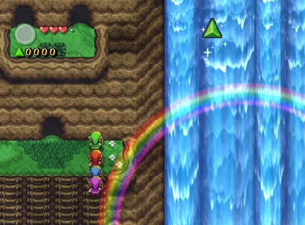 Arc en ciel près des cascades du Lac Hylia (Screenshot - Four Swords Adventures)