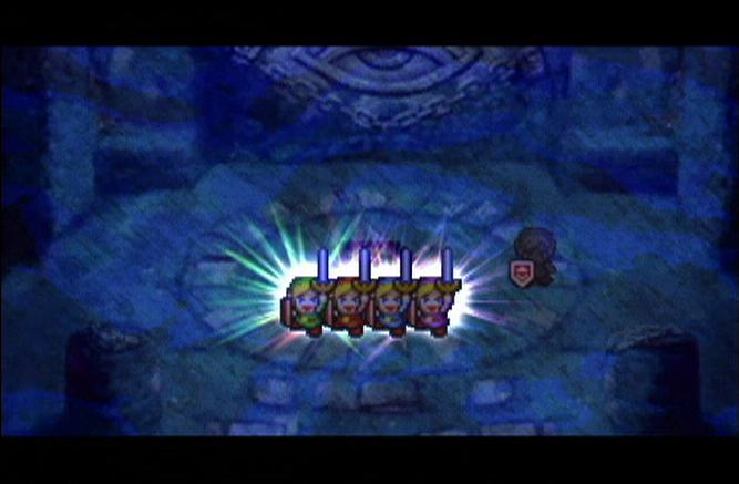 Les quatre Link au Sanctuaire de l'Epée de Quatre (Screenshot - Four Swords Adventures)