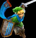 Link dans la tenue du héros attaquant à l'épée à une main