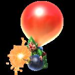 Tingle tenant une bombe suspendu à un ballon