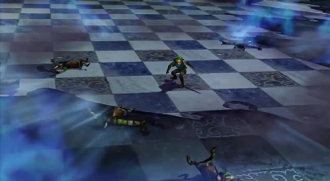 Screenshot de l'étape Combat contre le Cœur Sombre d'Hyrule Warriors