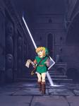 Link explorant un temple