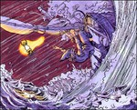 Link pris dans une tempête en pleine mer