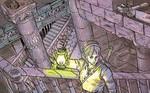 Link montant des escaliers avec une lanterne