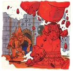 Link détruisant une colonne à l'aide d'un boulet