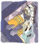 Link accompagnant un fantôme jusqu'à chez lui