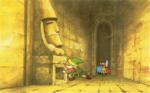 Link trouvant un passage secret dans un donjon
