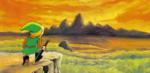 Link observant la plaine d'Hyrule