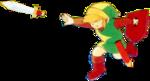Link lançant une épée