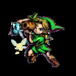 Link tenant le masque Goron et le masque Zora