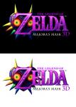 Logo de Majora's Mask, sur Nintendo 3DS, sur fond blanc et sur fond noir