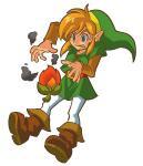 Link se brûlant avec une graine de braise