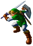 Link adulte avec la Master Sword et le bouclier d'Hylia