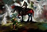Link rencontrant Ganondorf devant les portes du château d'Hyrule