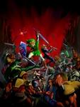 Link et Sheik affrontant une armée d'ennemis