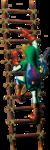 Link grimpant à une échelle