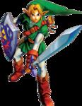 Link en posture d'attaque avec la Master Sword et le bouclier d'Hylia