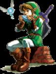 Link jouant de l'Ocarina du temps avec Navi