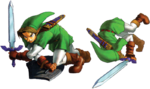 Link faisant une roulade